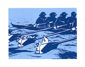 Rowers Giclee Print - Woodcut Style - Rowing Art, Crew Art, Gift for Rower
