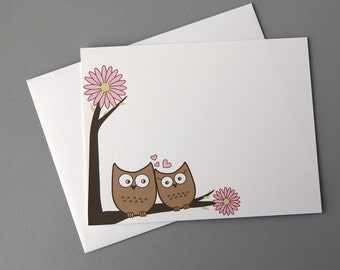 Love Owls A2 Flat Note Cards (Set of 10)