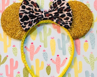Cute Fashion Leopard Print Bow inspired Gold Sparkle Minnie Mouse Headband Ears