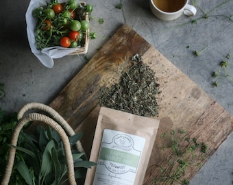 Farmers Market Mint Handcrafted Tea W/ Red Raspberry Leaf  | ORGANIC  | Northwest Grown Herbs | Winterwoods Tea Company Loose Leaf