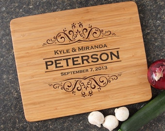 Personalized Wedding Gift, Personalized Cutting Board, Engraved Cutting Boards, Bamboo Cutting Boards, Custom, Housewarming Gifts-15 x 12 D7