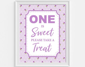 One Is Sweet Please Take a Treat Sign, Violet Floral Birthday Party Sign, Dessert Sign, First Birthday, INSTANT PRINTABLE