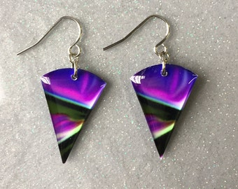 Pink Purple Green Black White Triangle Dangle Earrings