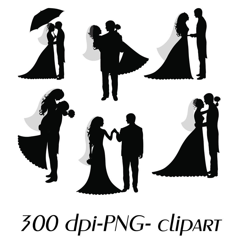 Novia y novio siluetas boda Digital Clipart Scrapbooking