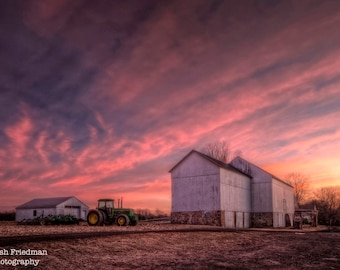 Patterson Farm Sunrise Photograph, Historic Farm Before Sunrise, Landscape Photography, Bucks County, Pennsylvania, Pink Sky, Tractor, HDR