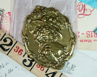 Large Victorian Oxidized Brass Stamping 45x60 mm