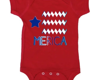 4th of July Baby Bodysuit Merica T-shirt  by Mumsy Goose Newborn Romper to Kids Tees