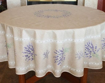 French Provence LAVENDER TAUPE 70 Inches Round Cotton Tablecloth   French  Home Decor Tablecloths   French Gift   Matching Napkins Available!