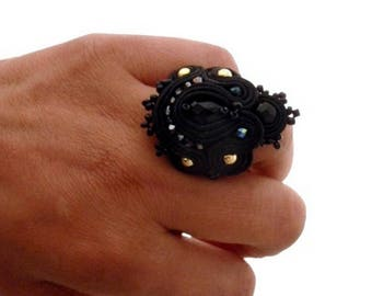 large black victorian gothic cocktail ring , statement soutache adjustable beaded rings ,  gold hammered antiqued style jewelry