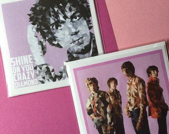 Pink Floyd and Syd Barrett 'Shine on you crazy diamond' - 2 pack Square Handmade Greetings Card Birthday Cards