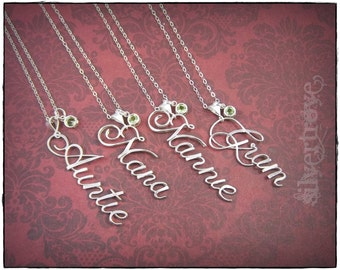 Personalized Name Pendant, Sterling Silver Name Necklace, Name Jewelry, Calligraphy Name, Birthstone Charm Necklace, Script Name With Chain