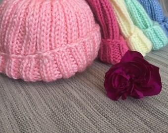 Hand knit Newborn Hospital Baby Hat - classic, baby boy, baby girl