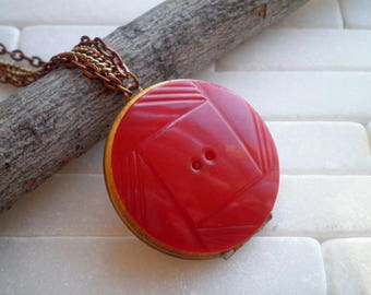 Vintage Bakelite Button Locket Necklace - Boho Secret Message Locket Pendant - Wish Collage Art Red Locket Jewelry - Make Wishes Necklace