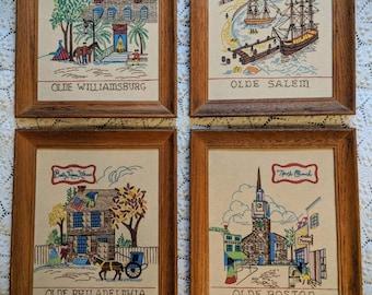 Vintage New England Handmade Art Drawings Framed set of 4 - vintage home decor