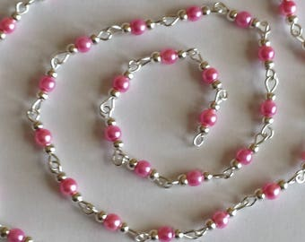 55cm of string/hot pink glass Pearl 4mm beads