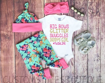 Baby Girls Coming Home Outfit, Floral Leggings, Hat and Headband, White Infant Bodysuit,Baby Leggings, Pink, Girls Outfit