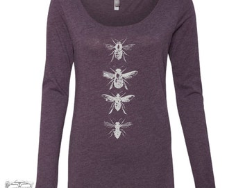 Womens BEES Long Sleeve Scoop Neck -  Tri Blend t shirt [+Colors] S M L XL XXL