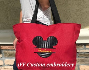 Personalized Mickey Mouse Zippered Tote Bag