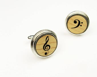 Music Cufflinks - Treble Clef and Bass Clef Wood Cuff Links for Musician, Band Director
