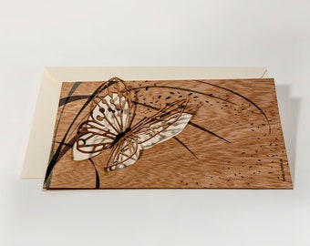 pop up cards wood with envelope - 3 butterfly cards