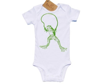 Baby One Piece - Baby First Birthday Gift - Gift for New Mom - Baby Unisex Clothes - Whimsical Creeper - Green Frog Screen Print