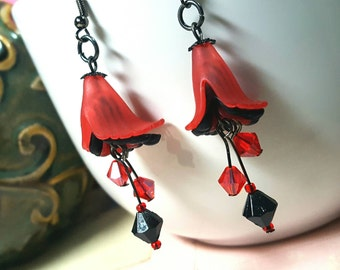 Red & Black Lucite Earrings, Calla Lily Lucite Earrings, Unique Lucite Flowers,Red and Black Calla Lily Earrings,Black Bicones FREE SHIPPING