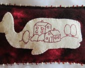 "Primitive Folk Art Redwork Wool Pattern - ""Fiona the Redwork Whale""  Wool Embroidery Beads  FAAP  Blanket Stitch Beaded Blanket Stitch"