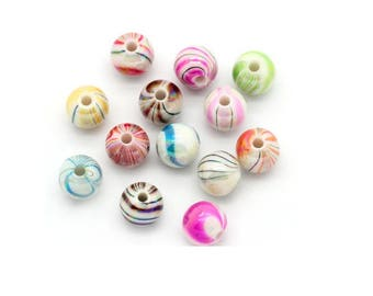 Lot of 30 acrylic beads 8 mm mixed color