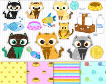 """15 Cats cliparts + 4 digital papers. Kitten vector graphics and digital papers. Commercial use. Model """"Lovely Cats Mix"""""""
