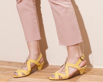 Heels, Summer Heels, Sandal with Heels, Mid Heel, Leather Sandals, Elegant Sandals, Day Heels, Fay // Free Shipping