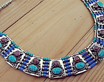Turquoise statement necklace- Tibetan Necklace- bohemian necklace- nepali jewelry- turquoise jewelry- Turquoise necklace