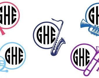Horn decal, Monogram Music decal, Personalized Horn Decal, Monogram Decal, Horn Sticker, Music Decal, Car Decal, Vinyl Decal, Yeti decal