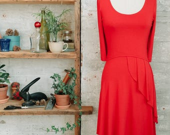 Café Pleated French Style Dress with Sleeves - flared dress - coral red dress - orange dress - spring fashion - casual dress - knee length