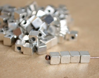 Antique silver beads - 4mm Accent cube Beads (p105) accent square beads, silver square beads, cube beads, silver accent beads, spacer beads