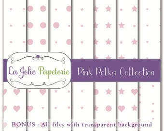 Pink Polka Collection (Digital Paper) - Patterns for Scrapbooking, Invitation, Card, Planners, Baptism, Nursery, Birthday, Baby Shower