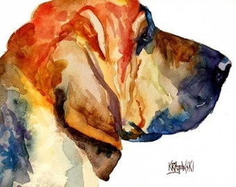 Bloodhound Art Print of Original Watercolor Painting 11x14