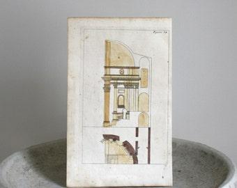 Antique Hand Colored Architectural Engraving c. 1711 Andrea Pozzo 7 1/2 x 12 1/2 inches