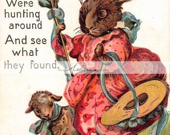 Printable Art Instant Download - Vintage Easter Postcard Little Bo-Peep Easter Bunny - Paper Crafts Scrapbooking Altered Art - Easter Image