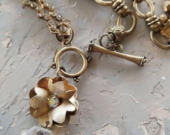 Book Chain Assemblage Necklace Boho Jewelry OOAK Brass Gold Rhinestone Brooch