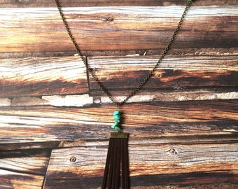 Long Brass Necklace - Leather Fringe Pendant - Turquoise - Brown - Tassel - Layer - Boho - Hippie - Gypsy - Matching Jewelry Set