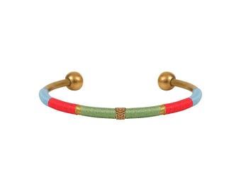 Thin bracelet LUCIEN-woven - green, pink, blue and gold