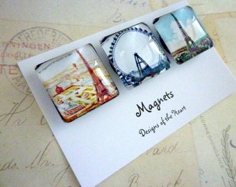 Square Glass Magnet set - Paris Eiffel Tower