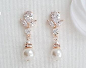 Rose Gold Wedding Earrings Pearl Crystal Bridal Earrings Bridesmaid Earrings Swarovski Pearls Wedding Jewelry, Nicole