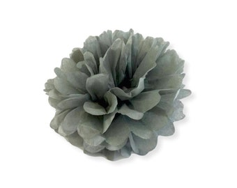 6 Inch Gray Tissue Pom Poms - Paper Party Decor Decoration Supplies