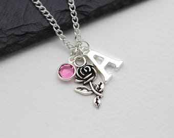 Personalised Rose Necklace, Florist, Belle Gift, Beauty and the Beast Necklace, Initital Necklace, Charm Necklace, Swarovski Crystal