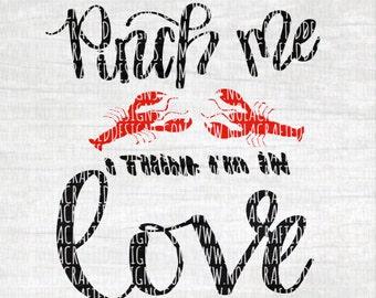 Crawfish Svg Cut File - Crawfish boil Svg Cut File - Valentines Svg Cut File - Louisiana Svg Cut File - Pinch Me I'm In Love Svg