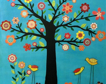 Retro Bird Tree Art Print, Children Room Decor, Baby Room Decor, Bird Decor Kids Room Decor Nursery Room Decor Baby Nursery Art Print