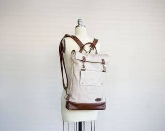 Leather Backpack in Wheat Beige Chestnut Brown, Messenger Convertible, Laptop Backpack, Professional Backpack, 17 inch Laptop Backpack