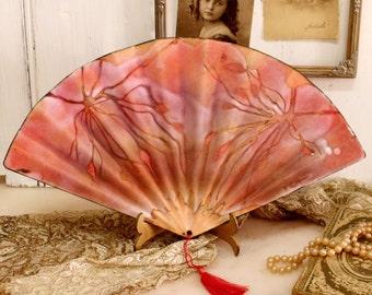 SALE Vintage enamel ladies fan decor