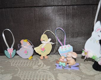 Easter ornaments / set of 6 / kissing bunnies / chicken / duck / tulip / basket of tulips / clothespin bunny / 1980s / Easter / Easter decor